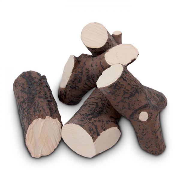 5tlg. Keramikholz-Set Braun Holzscheite Keramik