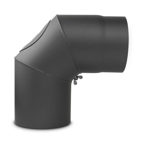 Ofenrohr Bogen starr mit Tür DN 130 mm 90° Gussgrau