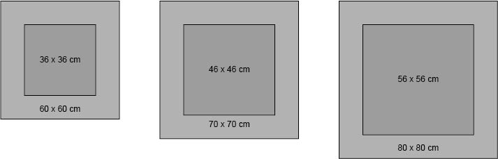 Maßangaben der 3 Modellgrößen