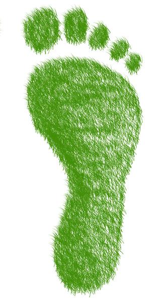rechter Fußabdruck aus Gras