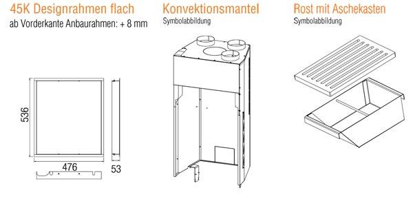 Kamineinsatz Austroflamm 45 K 2.0 Flach Zubehör