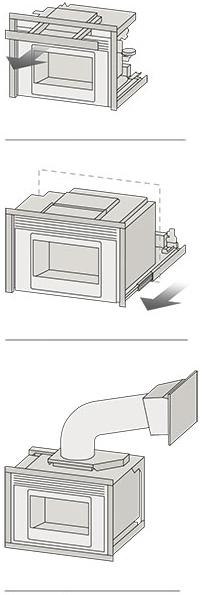 Illustration 3 Varianten Pelletbefüllung MCZ Kamineinsatz