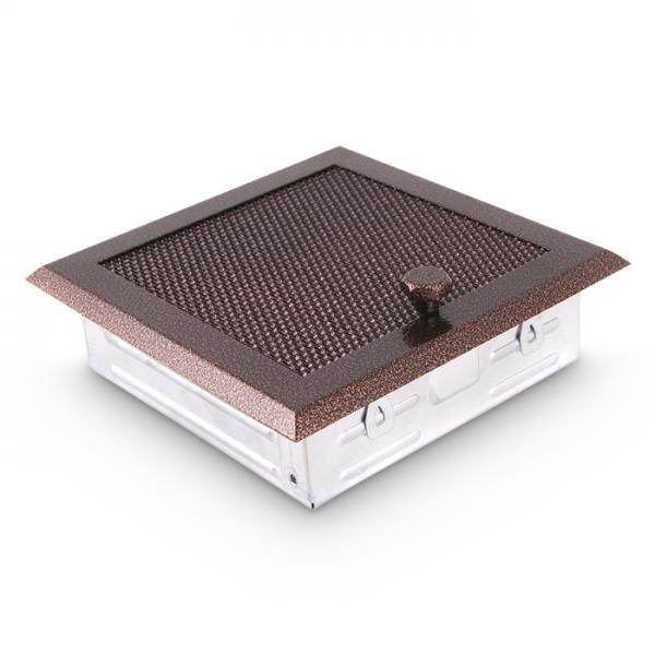 Warmluftgitter 19x19 cm Kamin Lüftungsgitter Ofen Gitter Kupfer Antik