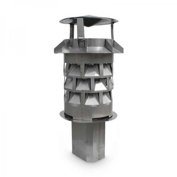 Schornsteinaufsatz Windkat 250 mm, Einschub Eckig