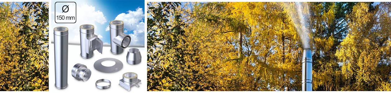Edelstahlschornstein im herbstlichen Ambiente und Einzelteile eines Edelstahlschornstein-Bausatzes