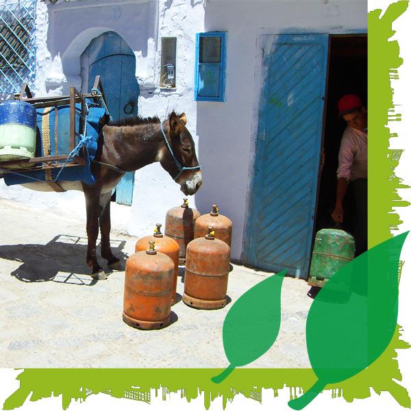Ambientebild eines Propangashändlers in Grichenland mit seinem Esel