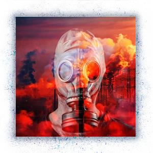 Gasmaske vor industrieller Verschmutzung