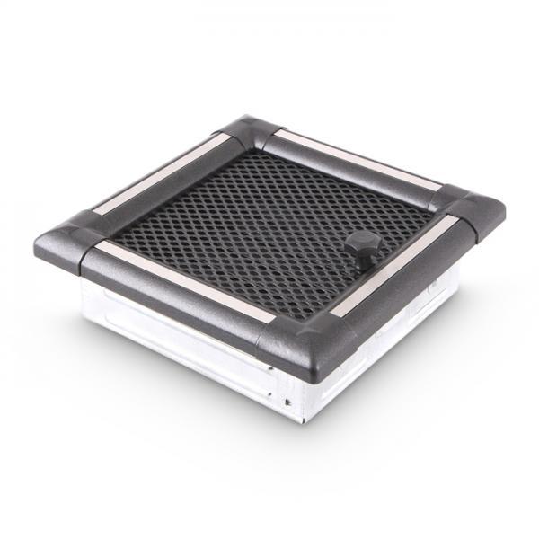 Warmluftgitter 20x20 cm Kamin Lüftungsgitter Ofen Gitter Graphit INOX