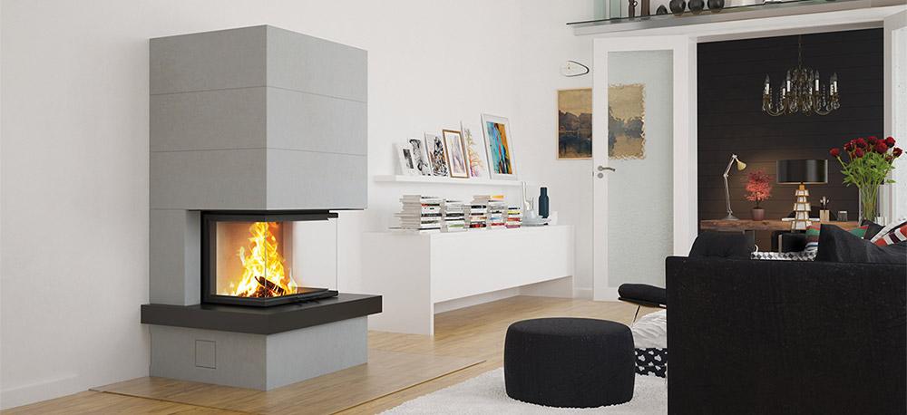 Kaminbausatz Camina S13 mit Feuertisch Montagebeispiel
