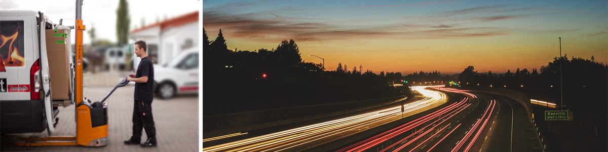 Collage Mitarbeiter belädt Transporter und Lichter auf der Autobahn