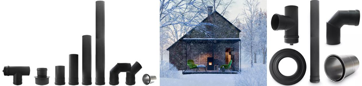 Pelletofenrohr-Sortiment und Ambiente Haus mit Pelletofen im Winter