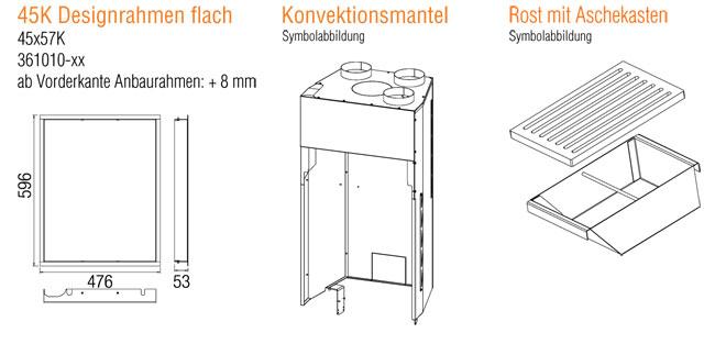 Kamineinsatz Austroflamm 45x57 K 2.0 Flach Zubehör