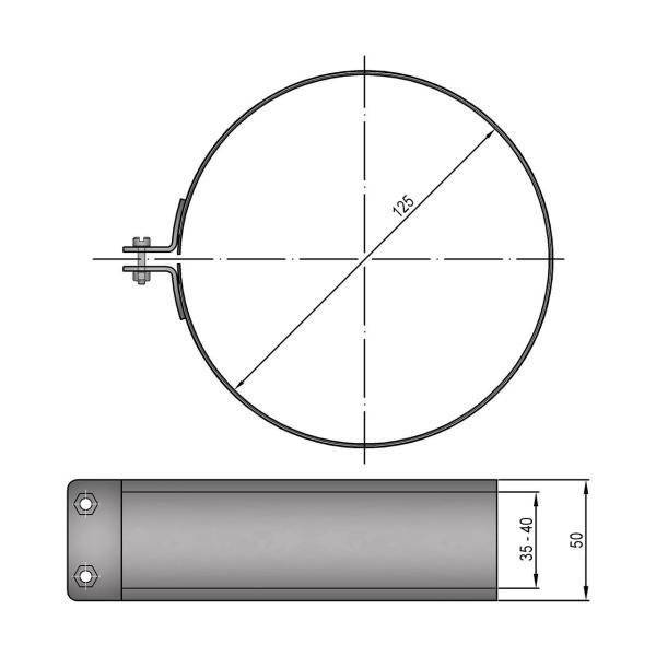 Ofenrohr Verbinder Dichtschelle grau 120mm bis 200mm