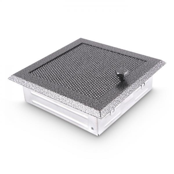 Warmluftgitter 19x19 cm Kamin Lüftungsgitter Ofen Gitter Silber Antik
