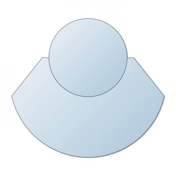 Glasplatte Kamin zweiteilig AA-Kaminwelt Kreis 1100x1250 mm