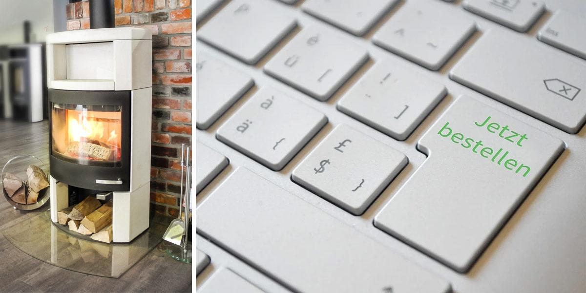 Kamin aus der Ausstellung und Tastatur mit Jetzt-Bestellen-Taste