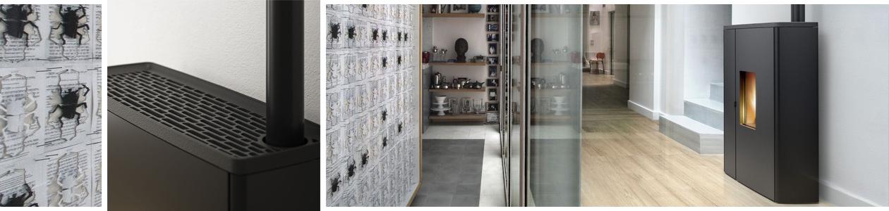 Ambientebild eines Pelletofens und Fokus auf Pelletofenrohr