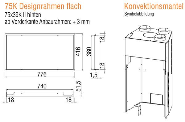 Kamineinsatz Austroflamm 75x39 S II 2.0 Flach Zubehör